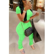Lovely Casual Fold Design Green Two-piece Pants Se