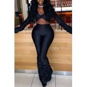 Lovely Sexy Fold Design Black Two-piece Pants Set