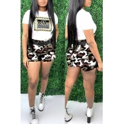 Lovely Leisure Camo Print Brown Two-piece Shorts Set
