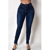 Lovely Casual Buttons Design Blue Jeans