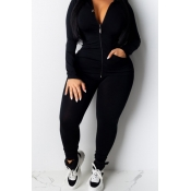 Lovely Casual Zipper Design Black Plus Size One-pi