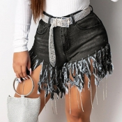 Lovely Trendy Tassel Design Black Shorts