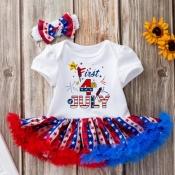 Lovely Sweet Print Multicolor Girl Mini Dress