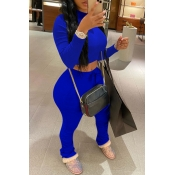 Lovely Casual Fold Design Royalblue Two-piece Pants Set