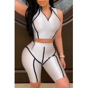 Lovely Sportswear Patchwork Greyish White Two-piece Shorts Set