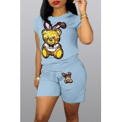 Lovely Casual Cartoon Print Baby Blue Two-piece Shorts Set
