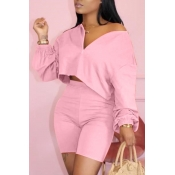 Lovely Casual Zipper Design Pink Two-piece Shorts