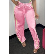 Lovely Casual Side High Slit Pink Pants