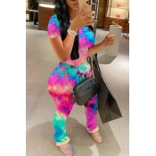 Lovely Casual Tie-dye Red Two-piece Pants Set