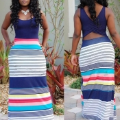Lovely Casual Striped Patchwork Blue Maxi Dress