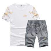 Lovely Sportswear Print White Two-piece Shorts Set