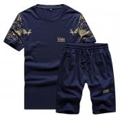 Lovely Sportswear Print Deep Blue Two-piece Shorts Set