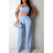 Lovely Trendy Dew Shoulder Baby Blue Two-piece Pan