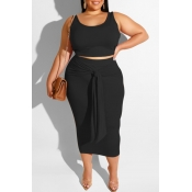 Lovely Leisure Lace-up Black Plus Size Two-piece S