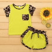 Lovely Stylish Patchwork Yellow Girl Two-piece Shorts Set