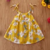 Lovely Sweet Floral Print Yellow Girl Knee Length