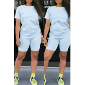 Lovely Casual Basic Baby Blue Two-piece Shorts Set