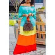 Lovely Bohemian Color-lump Patchwork Multicolor Maxi Dress