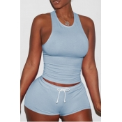 Lovely Sportswear Lace-up Baby Blue Two-piece Shorts Set