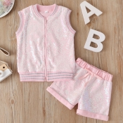 Lovely Casual Zipper Design Pink Girl Two-piece Sh