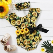 Lovely Stylish Sunflower Print Black Girl One-piec