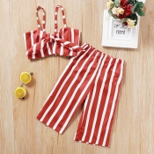 Lovely Stylish Striped Red Girl Two-piece Pants Se