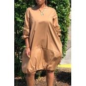 Lovely Casual O Neck Loose Khaki Knee Length Dress