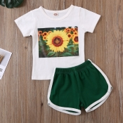 Lovely Leisure Print White Girl Two-piece Shorts S