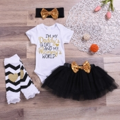 Lovely Casual Letter Print Black Girl Two-piece Sk