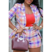 Lovely Trendy Grid Purple Plus Size Two-piece Shor