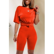 Lovely Trendy Basic Red Two-piece Shorts Set