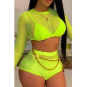 Lovely High-waisted Yellow Two-piece Swimsuit