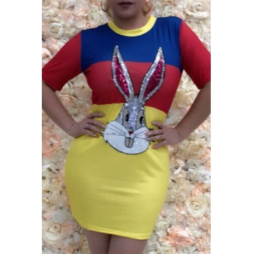 Lovely Casual O Neck Cartoon Sequined Yellow Mini T-shirt Dress