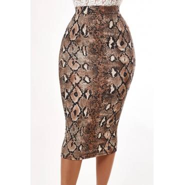 Lovely Casual Snakeskin Print Skirt