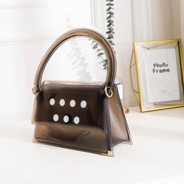Lovely Trendy Dot Print Black Messenger Bag