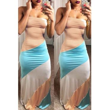 Lovely Casual Dew Shoulder Color-lump Patchwork Khaki Maxi Dress