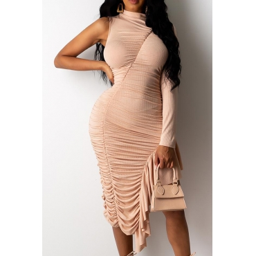 Lovely Trendy One Shoulder Fold Design Champagne Knee Length Dress