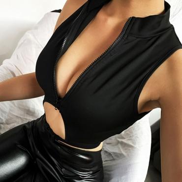 Lovely Sexy Zipper Design Black Camisole