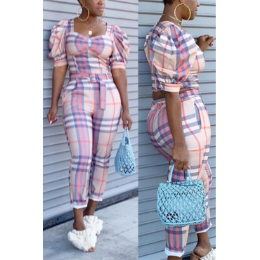Lovely Trendy Grid Print Pink Two-piece Pants Set
