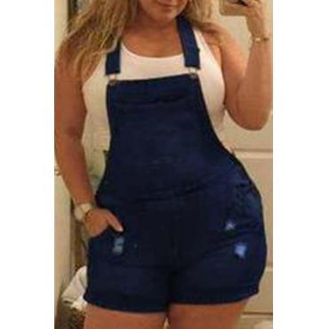 Lovely Trendy Buttons Design Deep Blue Plus Size Two-piece Shorts Set