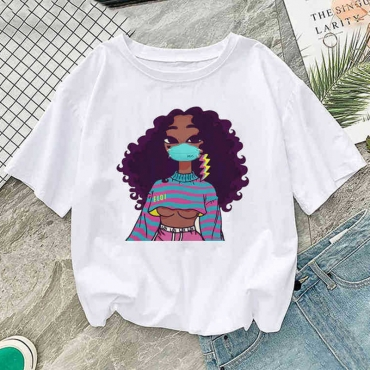 Lovely Leisure O Neck Cartoon Print White T-shirt