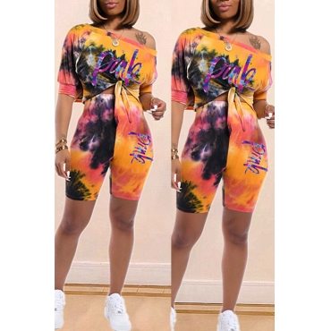 Lovely Casual O Neck Print Croci Two-piece Shorts Set