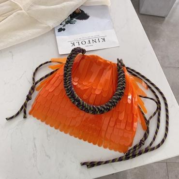 Lovely Trendy Tassel Design Croci Crossbody Bag