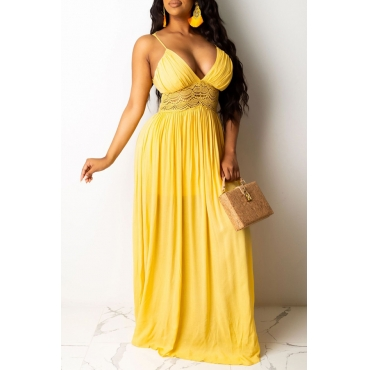 Lovely Trendy Backless Yellow Maxi Dress