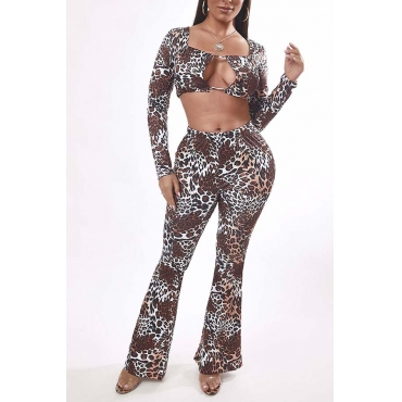 Lovely Sexy Leopard Print Two-piece Pants Set