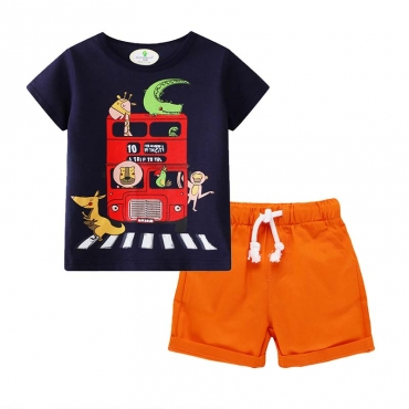 Lovely Casual Print Orange Boy Two-piece Shorts Set