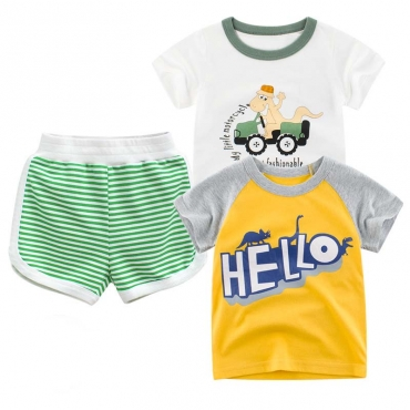 Lovely Casual Striped Green Boy Two-piece Shorts Set