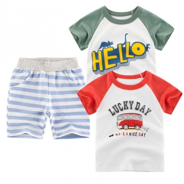 Lovely Casual Striped Print Red Boy Two-piece Shorts Set