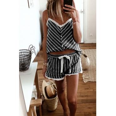 Lovely Leisure Striped Black Sleepwear