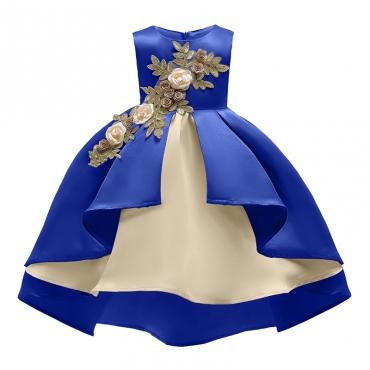 Lovely Trendy Patchwork Royalblue Girl Knee Length Dress